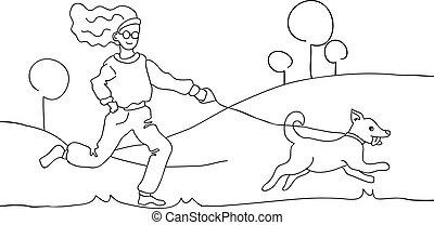 mão, cão, illustration., desenho, branca, pretas, passeio