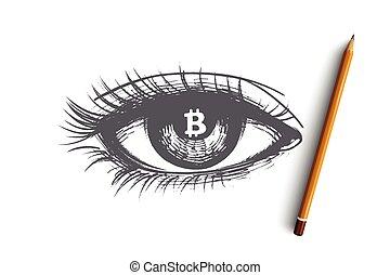 mão, concept., vector., isolado, desenhado, cryptocurrency