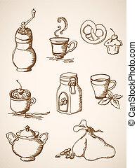 mão, desenhado, café, ícones, vindima