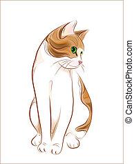 mão, desenhado, retrato, gato, gengibre, tabby
