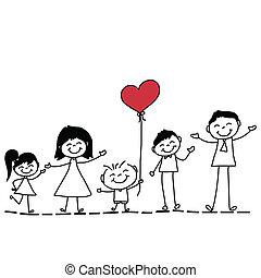mão, desenho, caricatura, família, feliz