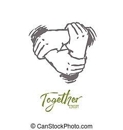 mão, equipe, pessoas, vector., junto, concept., isolado, desenhado, mão, amizade
