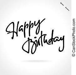 mão, feliz aniversário, lettering