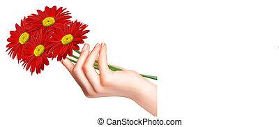 mão., flores, vermelho, vector.