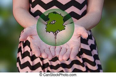 mão, fundo, árvore, verde