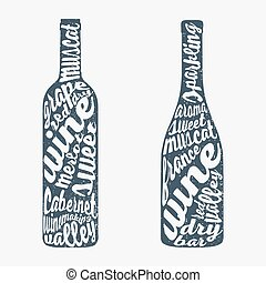 mão, garrafa, vinho., lettering