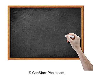 mão, giz, pretas, tábua, em branco, pedaço