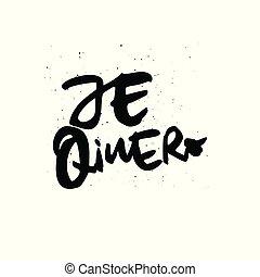 mão, lettering, amor, tu, espanhol, desenhado