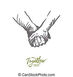 mão, mãos, sociedade, vector., junto, amor, concept., isolado, desenhado, amizade