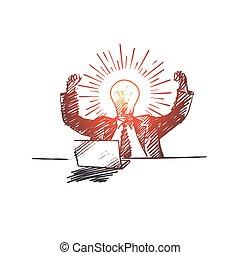 mão, obtendo, homem negócios, idéia, desenhado, grande