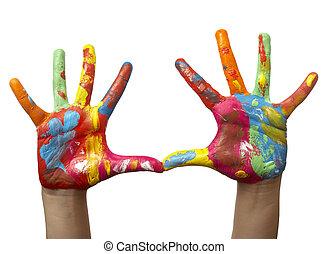 mão, pintado, criança, cor