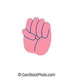 mão, soco, gestos