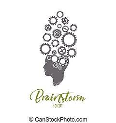 mão, vector., brainstorm, concept., desenhado, isolado