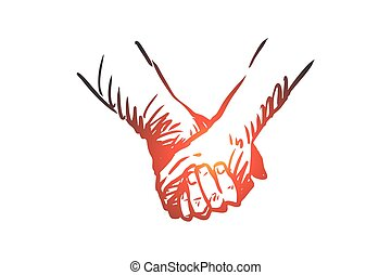mão, vector., junto, mãos, concept., desenhado, isolado, amizade, sociedade, amor