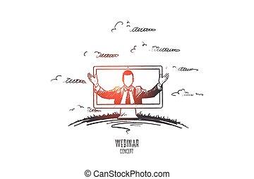 mão, vector., webinar, concept., desenhado, isolado