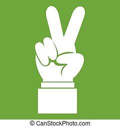 mão, verde, vitória, ícone, sinal