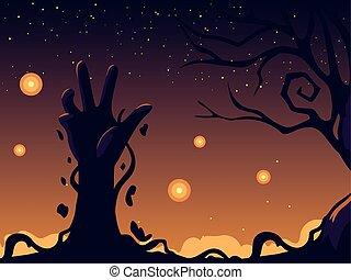 mão, zombie, dia das bruxas, fundo, noturna