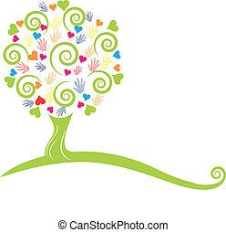 mãos, árvore, logotipo, corações, verde