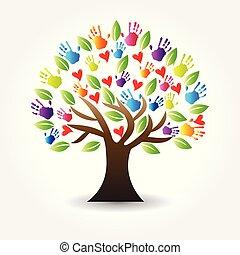 mãos, árvore, vetorial, corações, logotipo, ícone