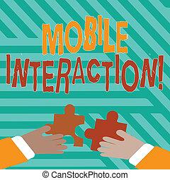 mãos, aproximadamente, interação, mostrando, usuários, computadores negócio, móvel, foto, quebra-cabeça, jigsaw, engrene, pedaços, texto, passe segurar, entre, conceitual, interaction., escrita, tiles.