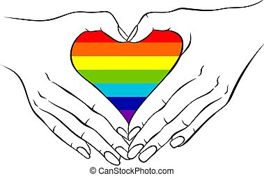 mãos, arco íris, dado forma, fazer, coração