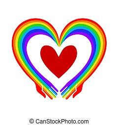 mãos, arco íris, illustration., ame coração, metáfora, vetorial