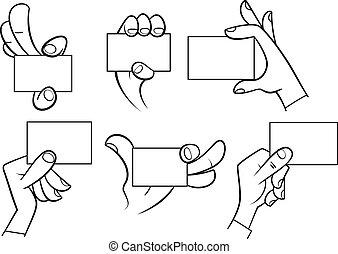 mãos, caricatura, cartão, segurando