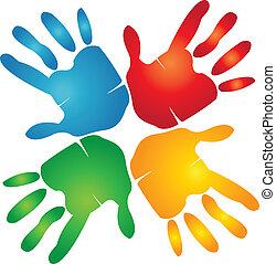mãos, coloridos, trabalho equipe, logotipo, ao redor