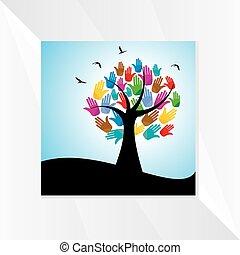 mãos, conceito, árvore