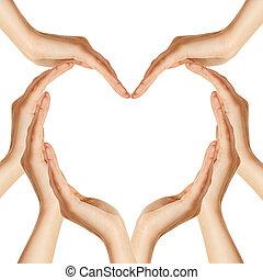 mãos, coração, fazer, forma