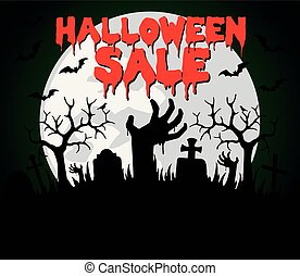 mãos, dia das bruxas, fundo, venda, zombie