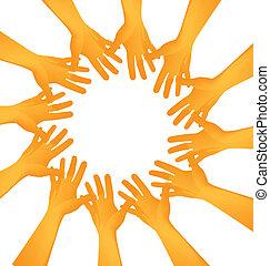 mãos, fazer, círculo