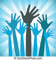 mãos, feliz, grupo, grande, design.
