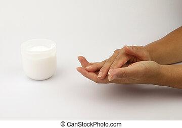 mãos, femininas, dela, close-up, moisturising