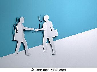 mãos, homens negócios, papel, arte, -, dois, negócio, agitação