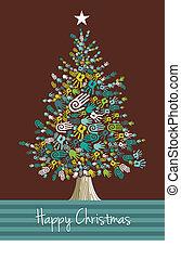 mãos, natal, diversidade, árvore