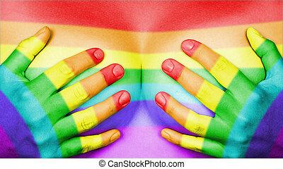 mãos, peitos, cobertura