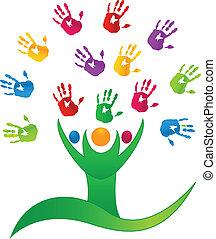 mãos, pessoas, árvore, logotipo, vetorial