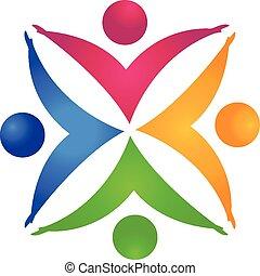 mãos, segurando, pessoas, trabalho equipe, logotipo