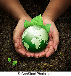 mãos, segurando, terra, verde, human