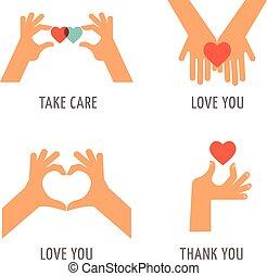 mãos, -, tomar, amor, jogo, apoio, cuidado, obrigado