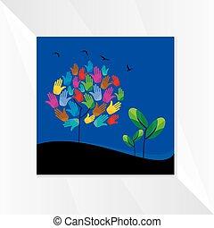 mãos, tree-with