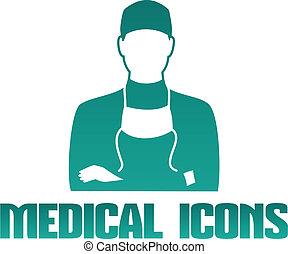 médico, ícone, cirurgião, doutor