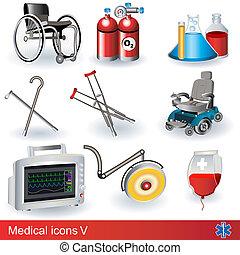 médico, 5, ícones