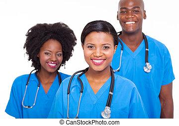 médico, africano, grupo, doutores
