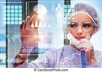 médico, botão urgente, conceito, doutor, futurista