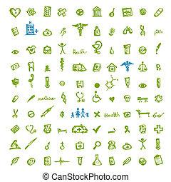 médico, desenho, seu, ícones