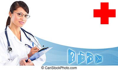 médico, doutor., mãos