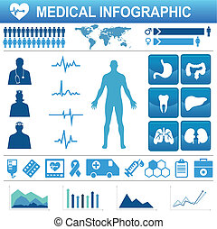 médico, elementos, ícones, infograp, saúde, cuidados de saúde, dados