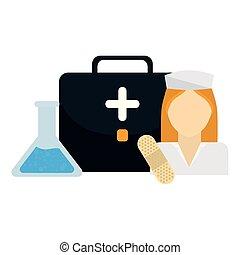 médico, enfermeira, equipamento